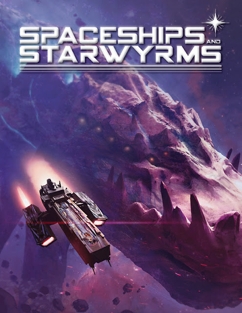 The cover of Spaceships and Starwyrms with the title in white mod font and a spaceship flying next to a craggy, monstrous figure that looks to be a dragon.