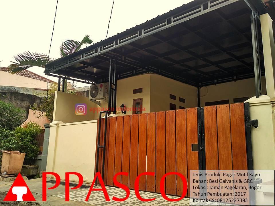 Pagar Minimalis Motif Kayu Lisplang GRC di Taman Pagelaran Bogor