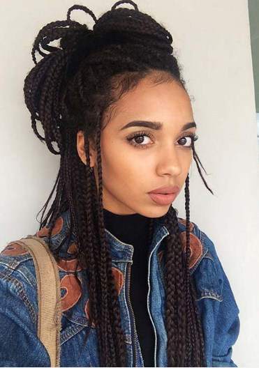 Thin Box Braids in a Casual Updo