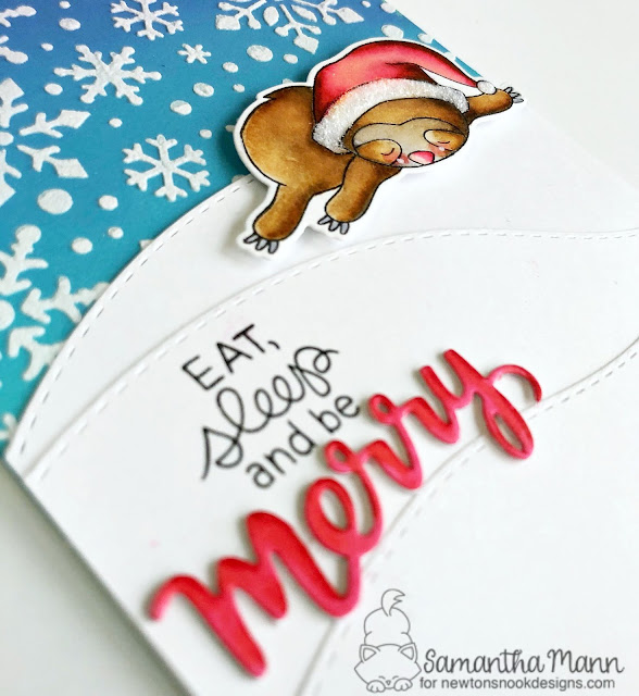 Eat, Sleep and Be Merry Card by Samantha Mann for Newton's Nook Designs, sloth, Christmas, Cards, Distress Inks, Stencil, Embossing Paste, #newtonsnook #sloth #cards #christmas #stencil
