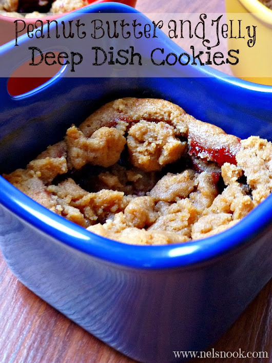 Peanut Butter and Jelly Deep Dish Cookies