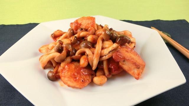 懐かしい給食の味!鶏肉と水煮大豆のトマトケチャップ炒め