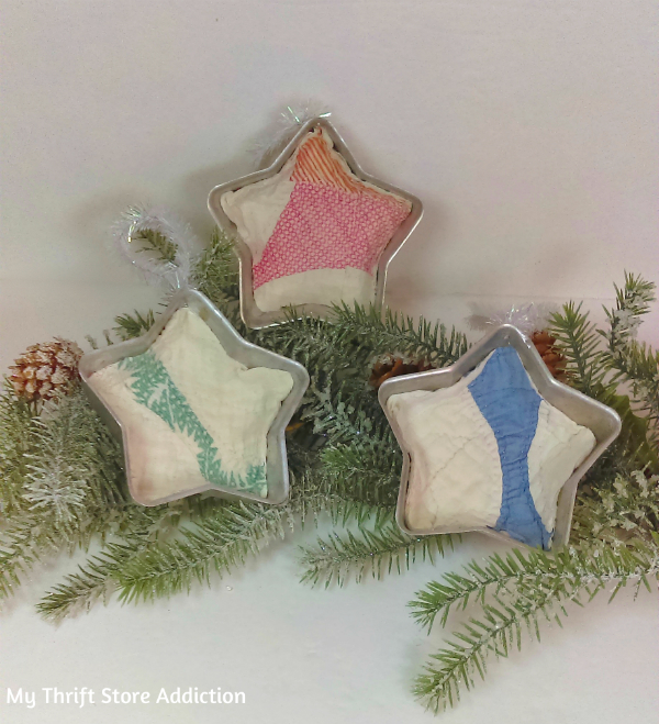 repurposed vintage jello mold quilted star ornaments