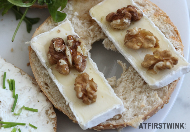 Bagel with brie, walnuts, and honey