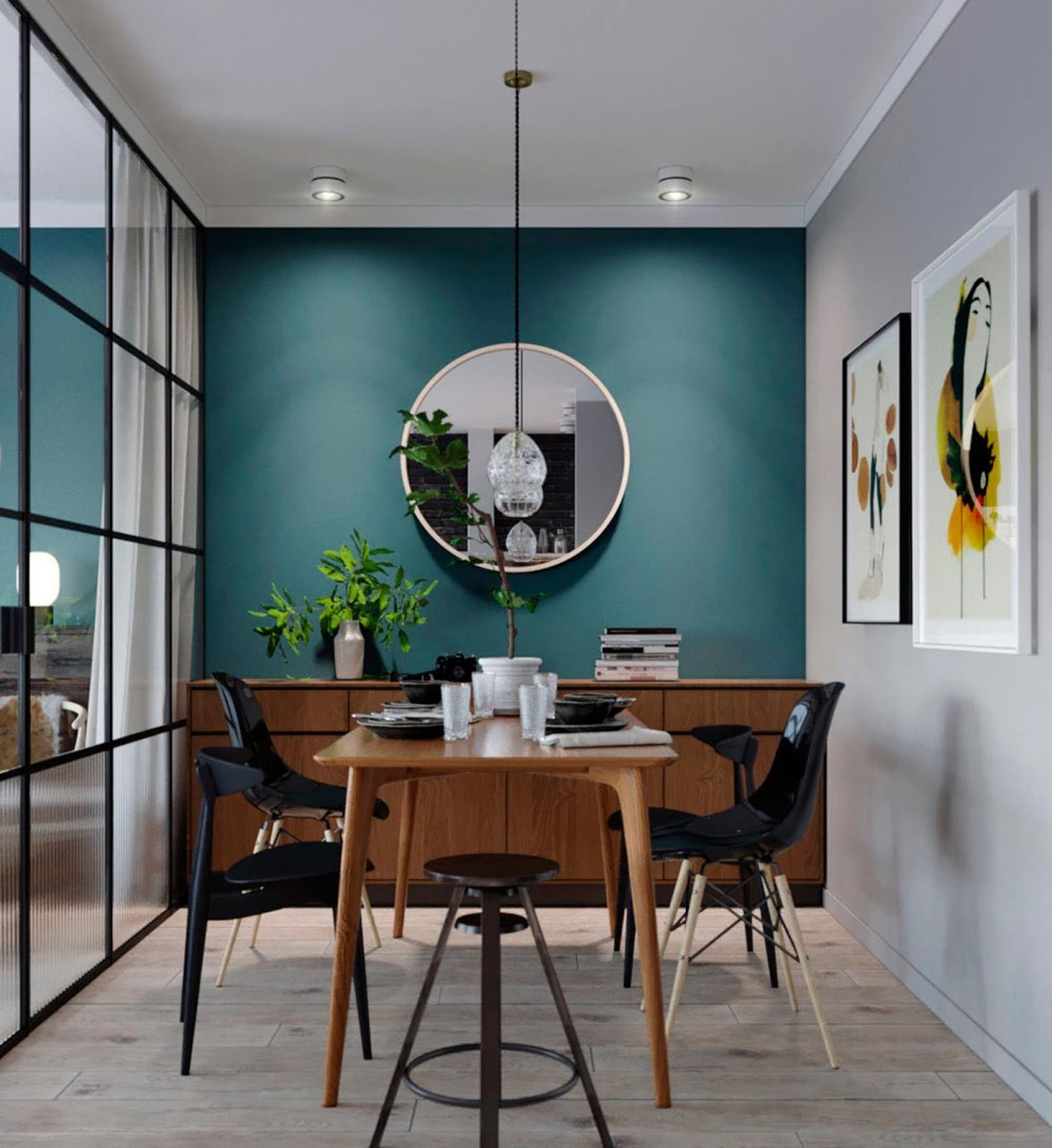 teal wall color, eames chairs, dining table