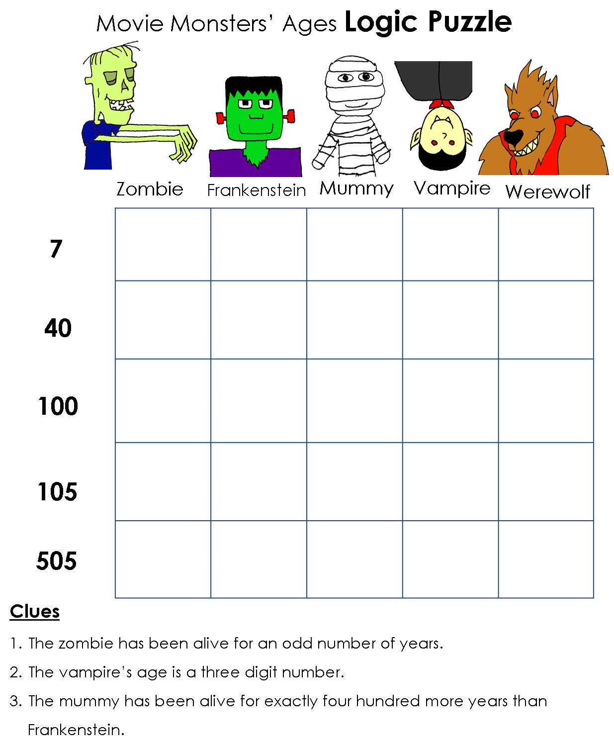 Beyond Gold Stars Monsters Logic Puzzles