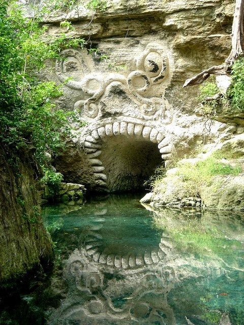 Mayan Entrance In The Caves Of Xcaret Riviera Maya Mexico