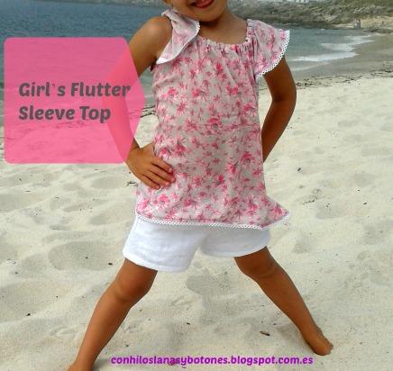 conhiloslanasybotones - Girl's Flutter Sleeve Top
