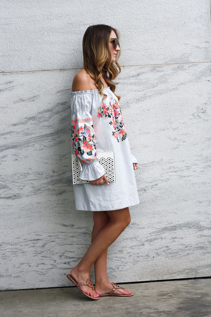 Off the shoulder embroidered dress