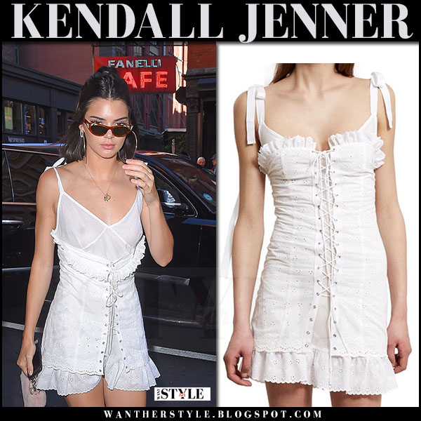 Kendall Jenner in white corset lace up mini dress opening ceremony what she wore june 3 2017
