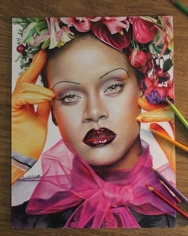 03-Rihanna-2-Luca-Orlando-Celebrity-Drawn-with-Colored-Pencils-www-designstack-co