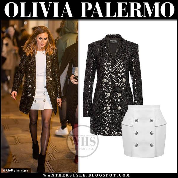 578c507e1e73 Olivia Palermo in black sequin balmain blazer and white button balmain mini  skirt fashion week style
