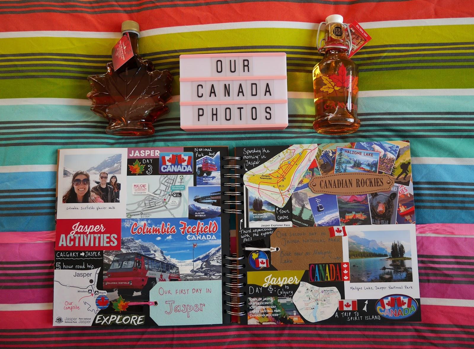 Canada travel scrapbook pages 3-4 (Jasper National Park) featuring Printiki's retro prints
