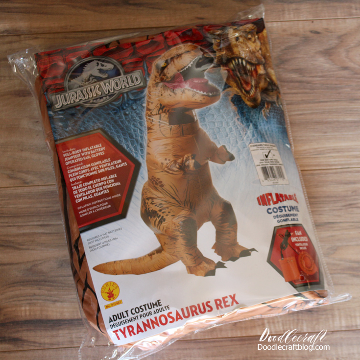 its easy to put on and zip up the front the front neck of the dino has clear plastic and netting for visibility and breathability