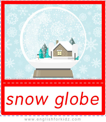 snow globe, Christmas vocabulary flashcards for ESL