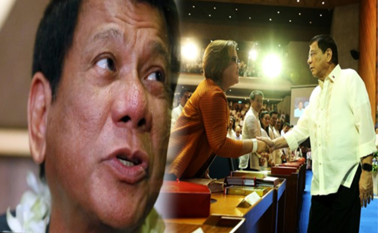 Reaction of Duterte after handshake with De Lima