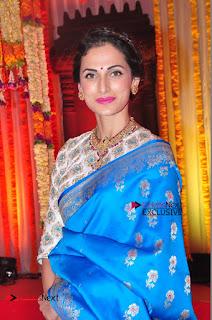 Actress Model Shilpa Reddy Exclusive Stills in Blue Saree at Vijay Karan Aashna Wedding  0035.JPG
