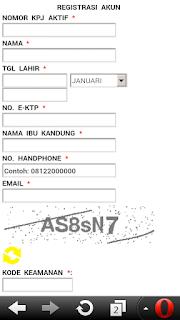 Contoh form pendaftaran akun BPJS TK online