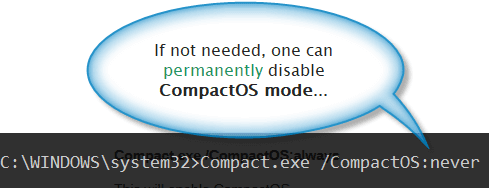 Deactivation of CompactOS mode via DOS command line prompt