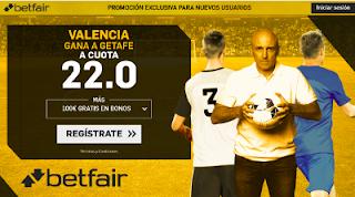 betfair supercuota victoria del Valencia al Getafe 3 diciembre