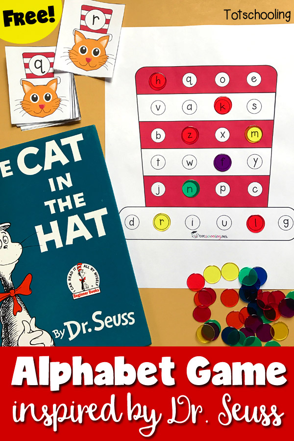 cat in the hat alphabet game inspired by dr. seuss  totschooling, printable coloring