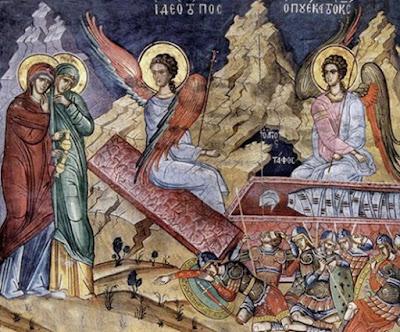 τοιχογραφία με δύο Αγγέλους   και στρατιώτες που κοιμούνται