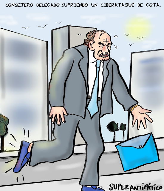 Consejero delegado sufriendo ciberataque de gota