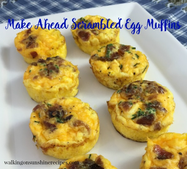 Scrambled Egg Breakfast Muffins with Bacon and Cheese from Walking on Sunshine Recipes.