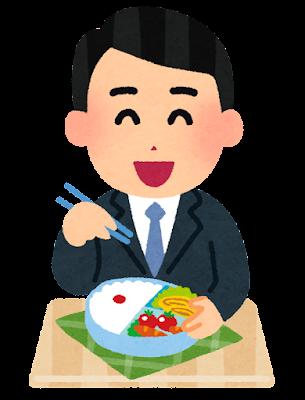 お弁当を食べる男性会社員のイラスト