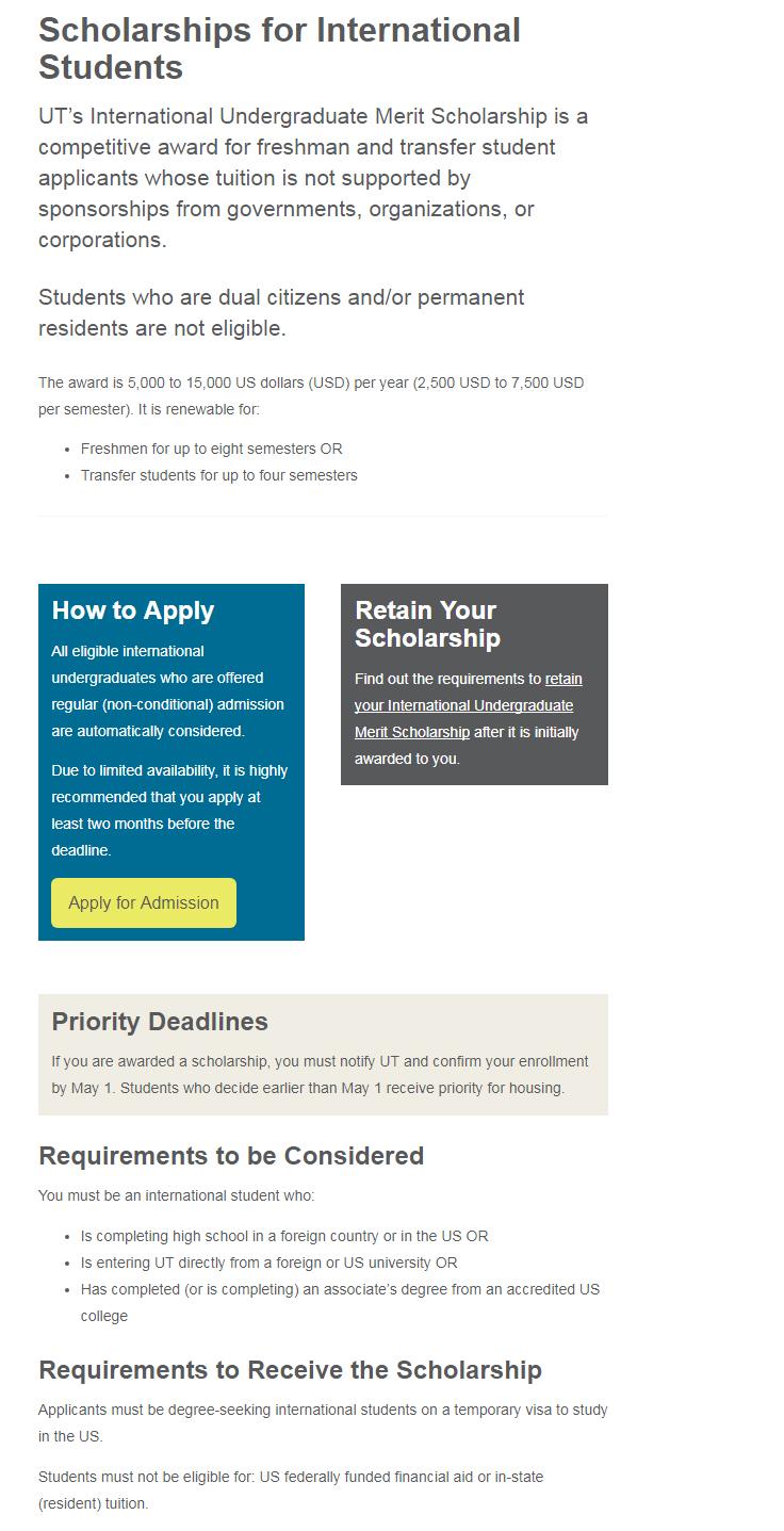 The University of Tennessee Undergraduate Merit Scholarships USA for International Students September 2017