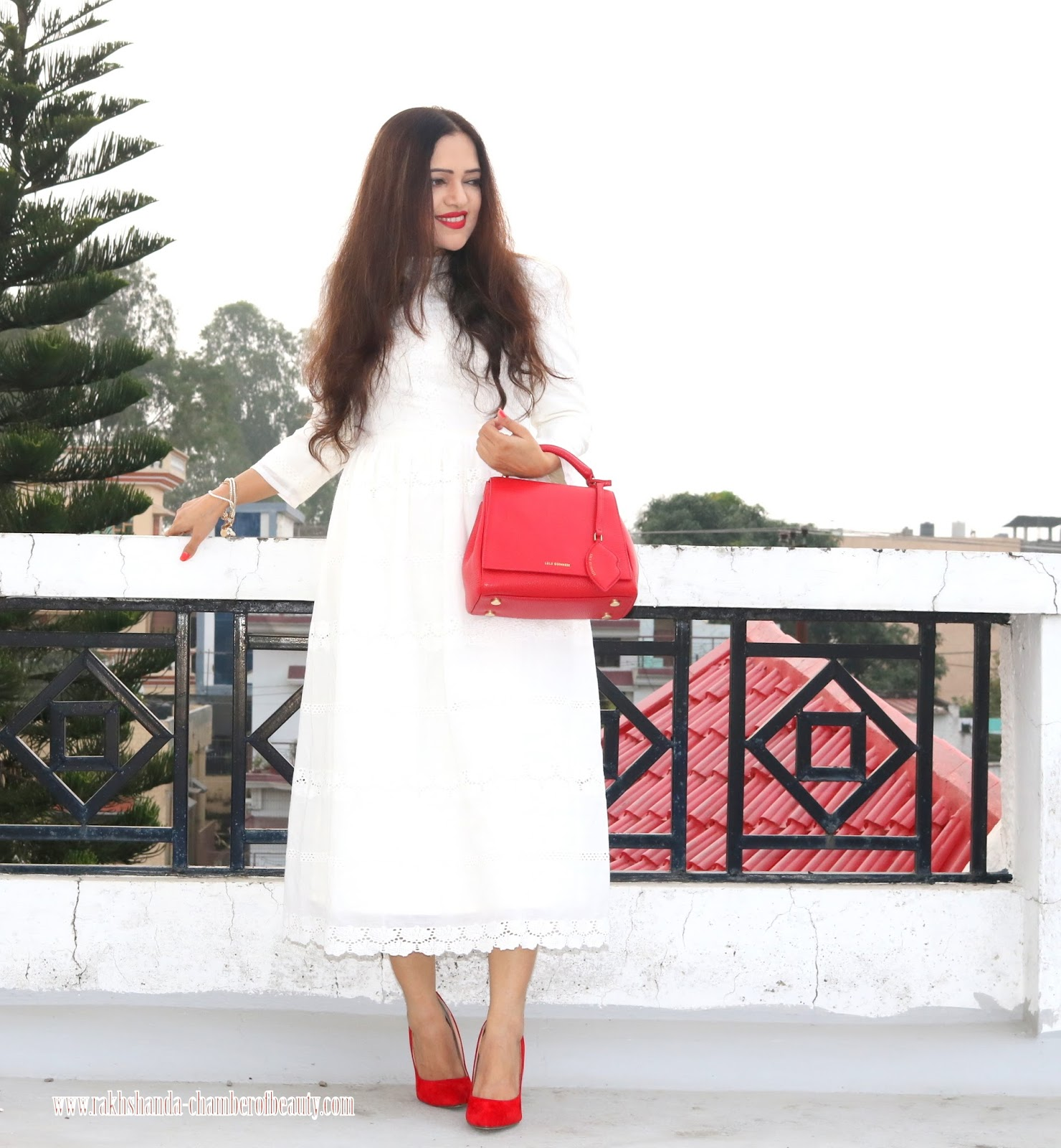 White Lace Dress in Fall