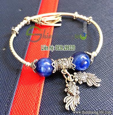 Vòng tay đá quý sapphire xanh bạc Thái 925