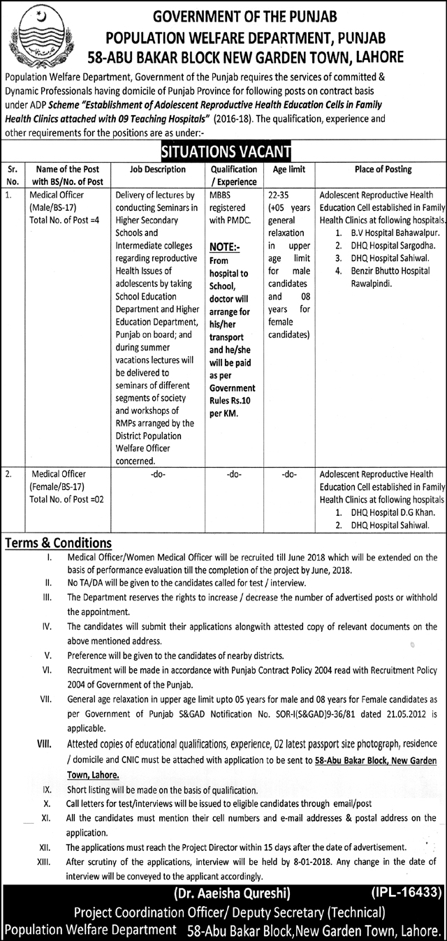 Jobs In Population Welfare Department Lahore  Dec 2017