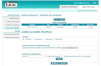 Página de gestión de análisis de un sitio. Se puede seleccionar el periodo (semanal, quincenal, mensual y bimestral), incluir una lista de emails a los que enviar los informes y configurar exclusiones al análisis.