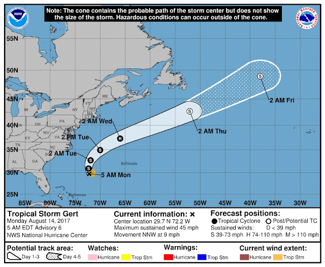 Tropical Storm Gert Projected Path