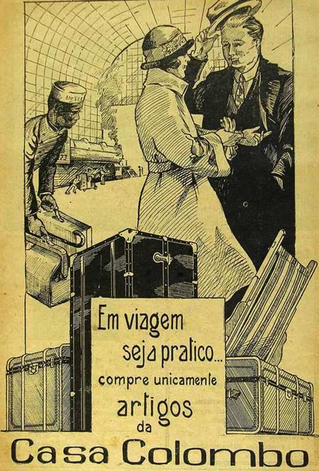 Propaganda da Casas Colombo, em anúncio de 1924, apresentando ser a opção ideal para viagem
