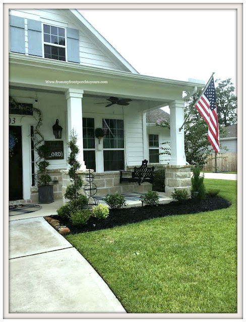 Flower Beds-Curb Appeal-DIY Landscape-Spiral Shrub-Topiary-Southern Porch-Porch Swing-Southern Charm-From My Front Porch To Yours