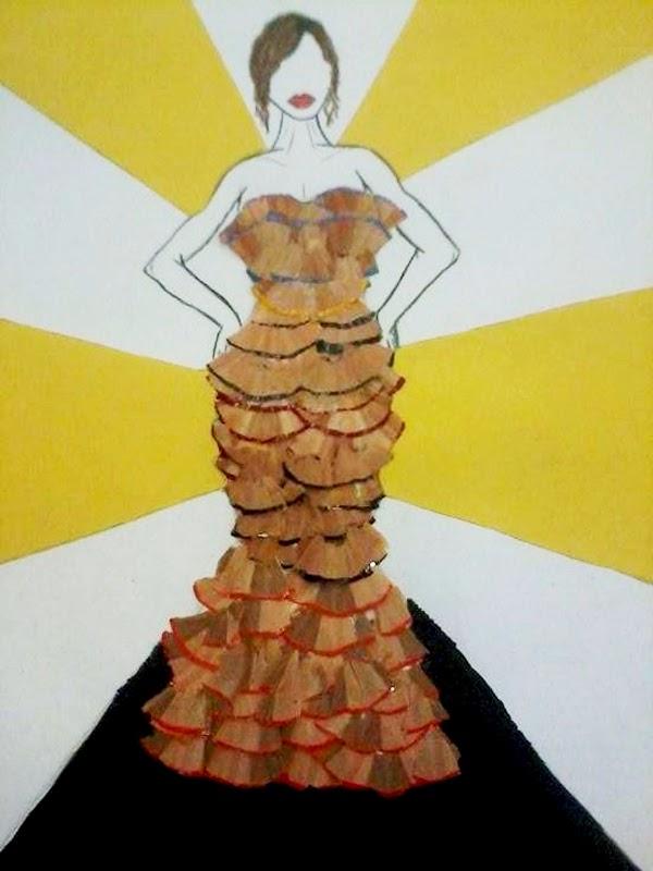Pencil Shaving Art On Dress Make Easy Art And Craft Ideas