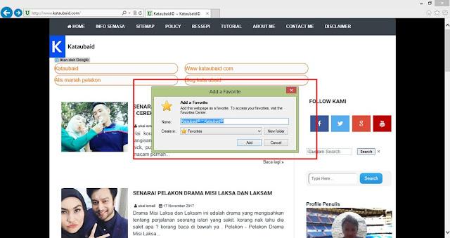 'Bookmark' Laman Web