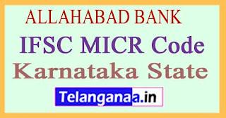 ALLAHABAD BANK IFSC MICR Code Karnataka State