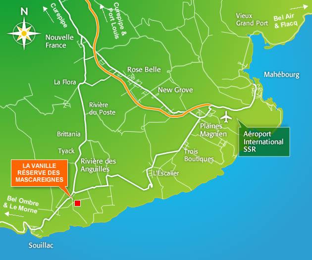 Localizacion de La Vanille Nature Park