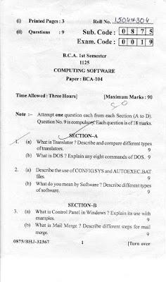 bca computer questionpaper