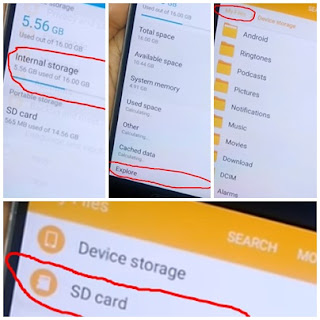menu Storage>>Internal Storage >>Explore>>My Files sekarang kamu pilih SD Card