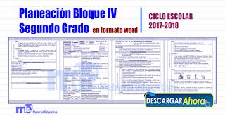 Planeación Bloque IV Segundo Grado primaria