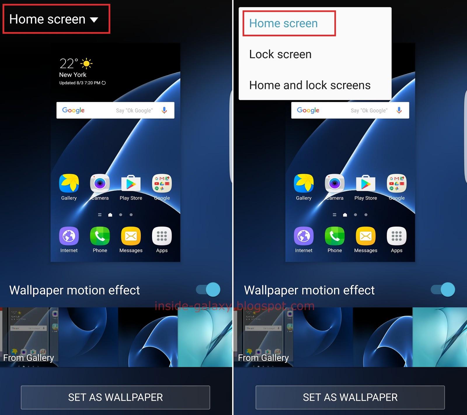 samsung galaxy s7 edge how to change home screen
