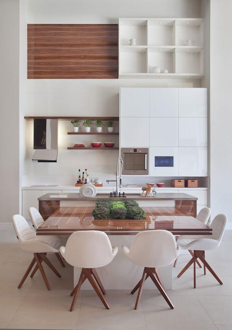 cocina con isla de madera