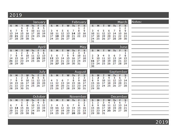 Printable 2019 Blank Calendar Template
