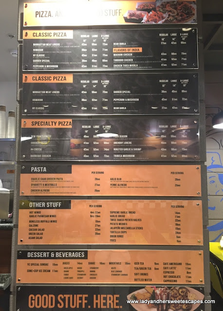 Yellow Cab Dubai menu as of November 2017