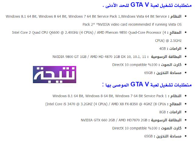 متطلبات تشغيل لعبة gta v على ويندوز 7