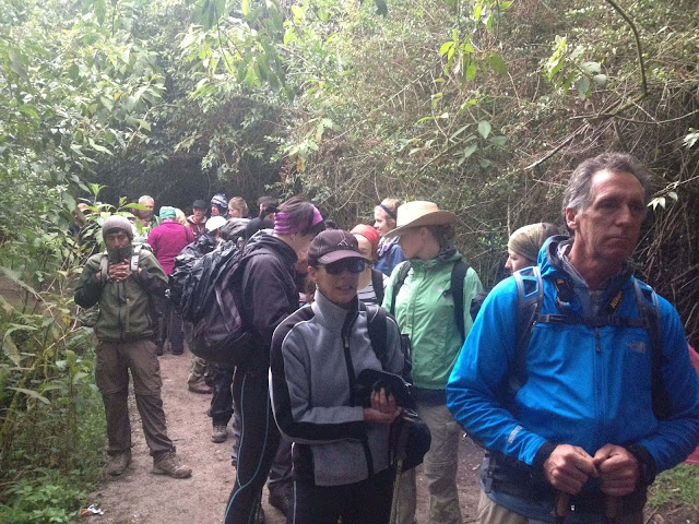 Queuing early on day 4, for the final hike to the Lost City Of the Incas